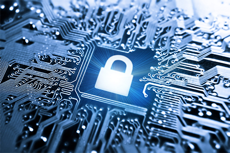 cybersecurity graphic lock on a circuit board