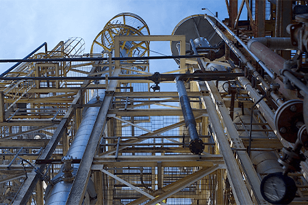 Looking up at chemical facility structure