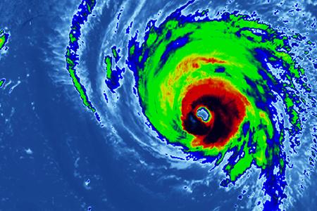 Category 5 Hurricane on Radar Approaching Landfall