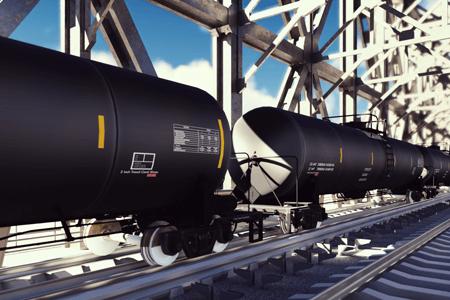 Transportation Rail Tanker On Bridge