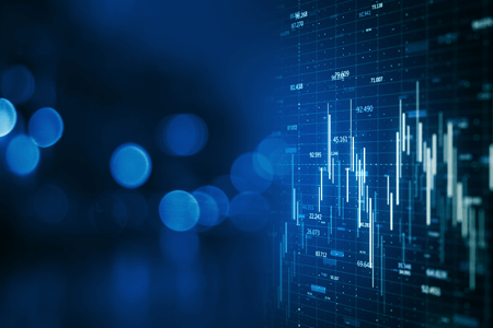 Business Graph Chart Data in Blue
