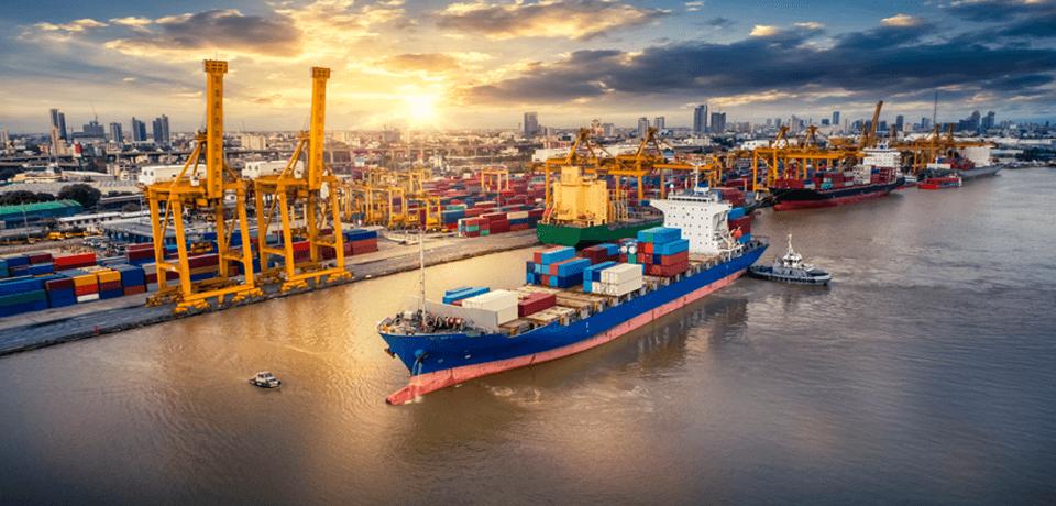 Cargo Ship Docking at Port