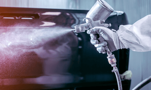 Automotive Coating Application with Proper Personal Protective Equipment