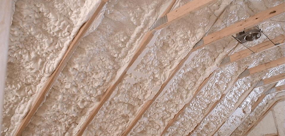 Spray polyurethane applied to attic space
