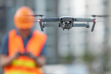 Drone and Facility Worker
