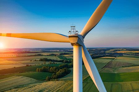 Wind Turbine Creating Renewable Energy at Dusk