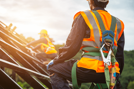 Worker Wearing Safety Harness