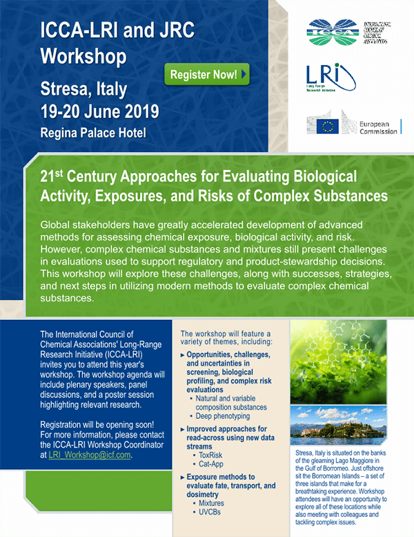 ICCA-LRI & JRC Workshop: 21st Century Approaches for Evaluating Biological Activity, Exposures, and Risks of Complex Substances