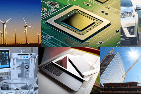 Various PFAS products including wind turbines, eletronic devices, an automobile, medical equipment, a construction site and a microchip.